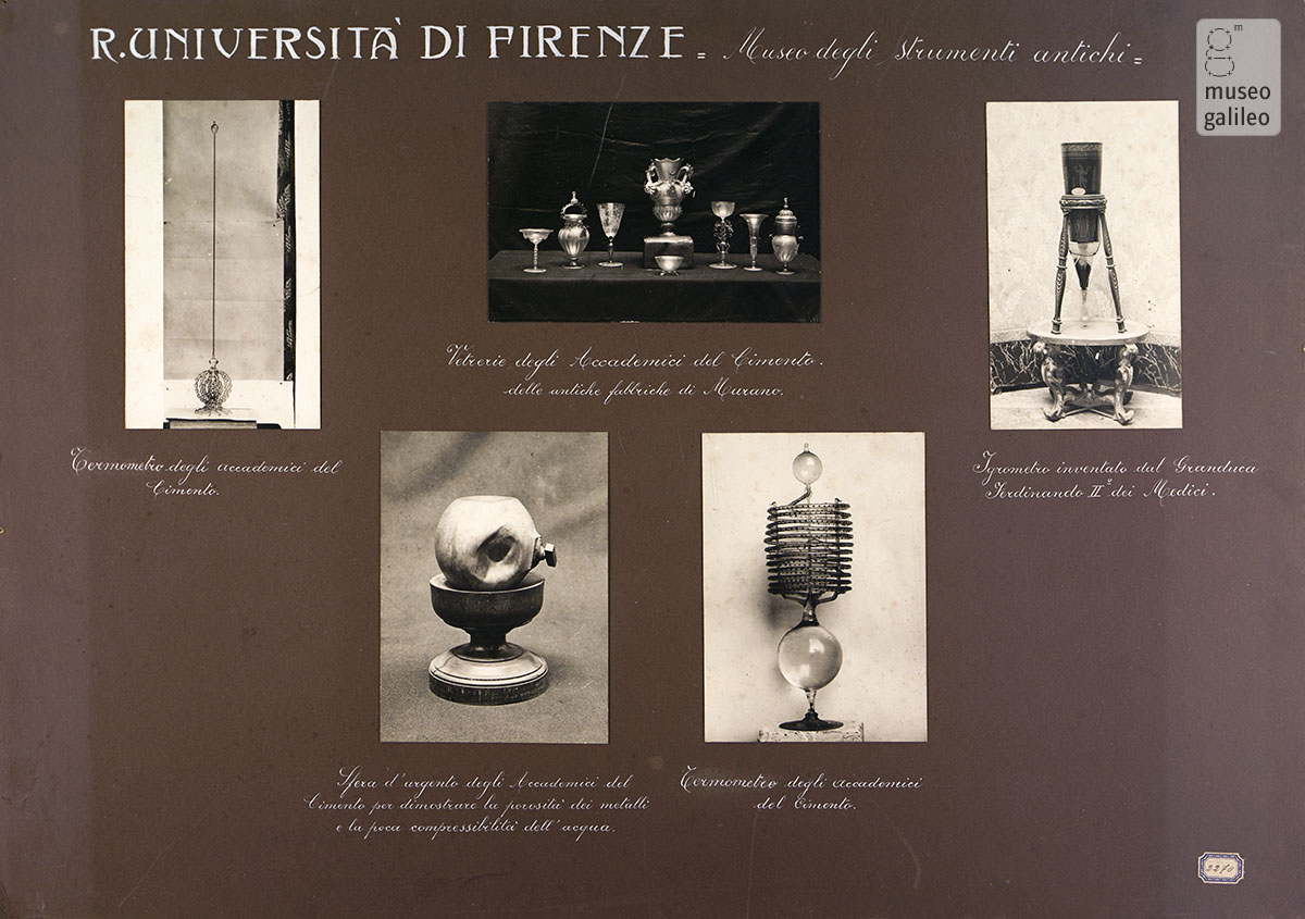 Instruments of the Accademia del Cimento on display in the National Exhibition of the History of Science in Florence, 1929