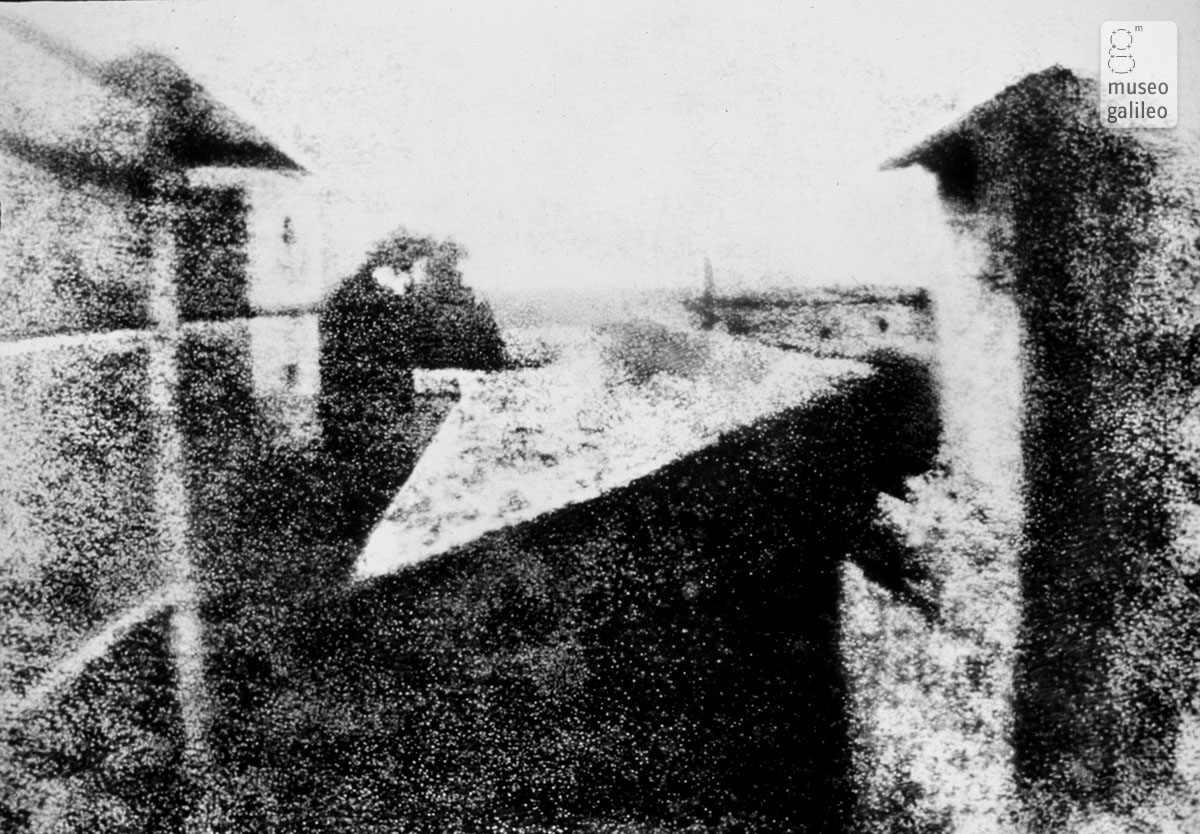 The first photograph in history, a view from Niépce's atelier (1827)
