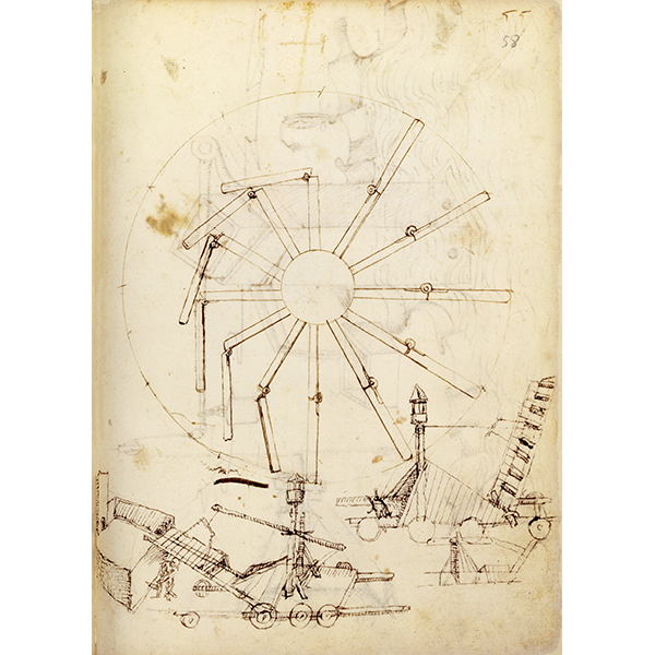 Mariano di Iacopo known as Taccola, De ingeneis I-II - Cod. Lat. Monacensis 197 II (BSBM), f. 58r - Perpetual wheel with articulated arms