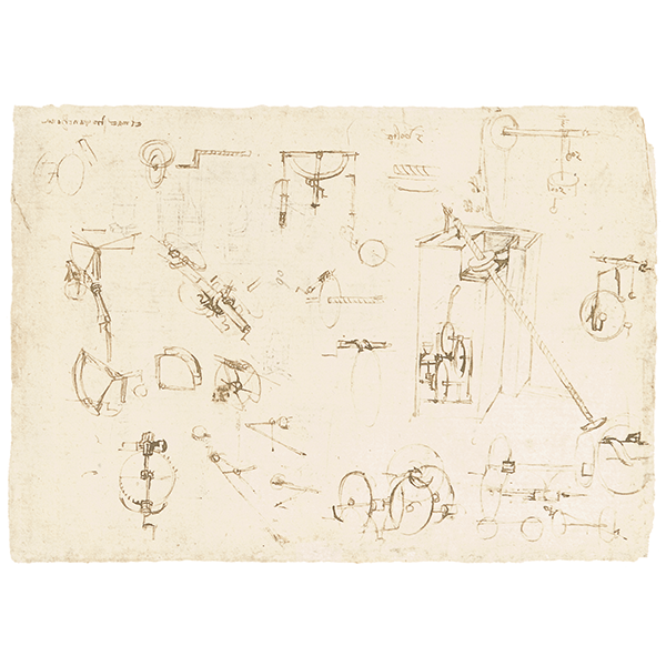 Leonardo da Vinci - Codex Atlanticus (BAM), f. 1068v - Study of a self-powered water-lifting machine