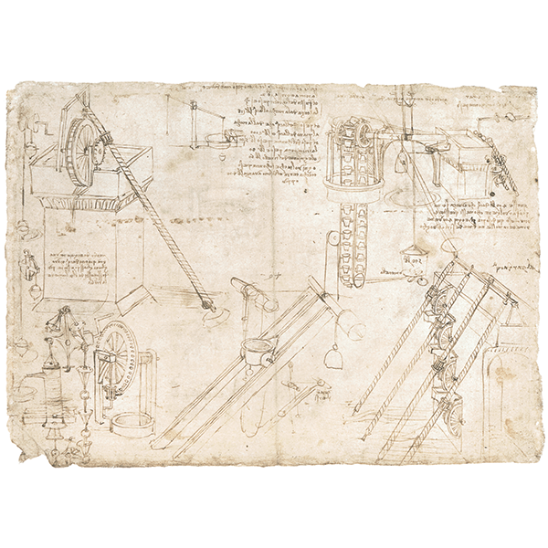 Leonardo da Vinci - Codex Atlanticus (BAM), f. 1069v - Study of self-powered water-lifting machines