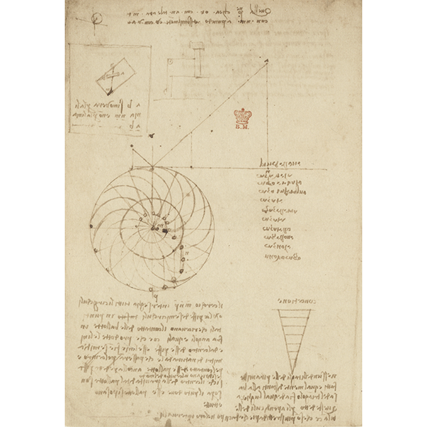Leonardo da Vinci, Codex Arundel (BLL), f. 44v - Study for the design of an overbalanced wheel