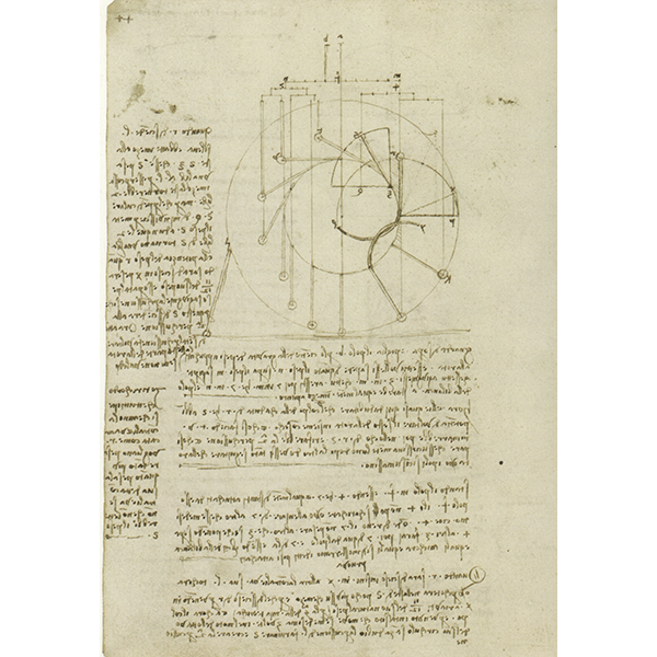 Leonardo da Vinci,Codex Madrid I (BNM), f. 147v - Studies for the design of a perpetual wheel with articulated arms